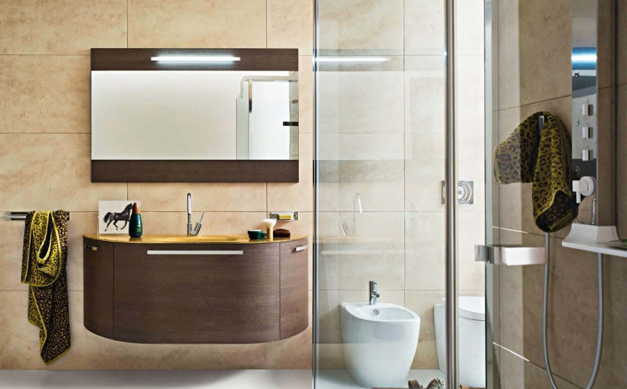 bathroom vanity with illuminated mirror - Design For Comfort Room