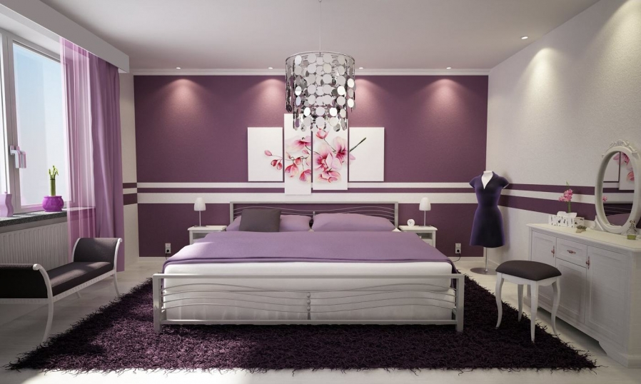 purple-and-white-bedroom-design