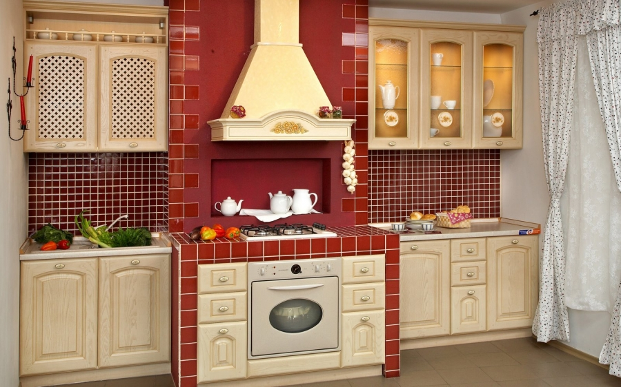 red-country-kitchen-designs