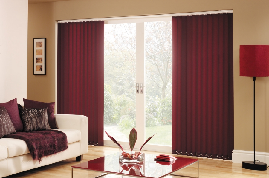 Red Vertical Patio Door Blinds