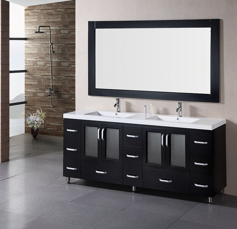 ... Black Bathroom Vanity With Double Sinks ...