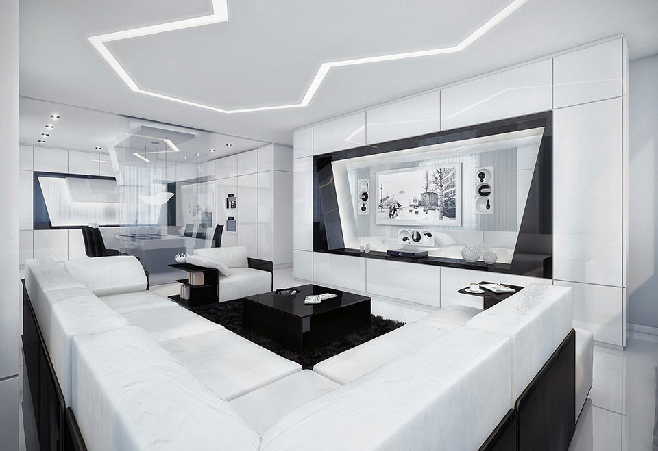 Superb Black And White Living Room