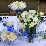 Blue Glass Dining Table Centerpiece