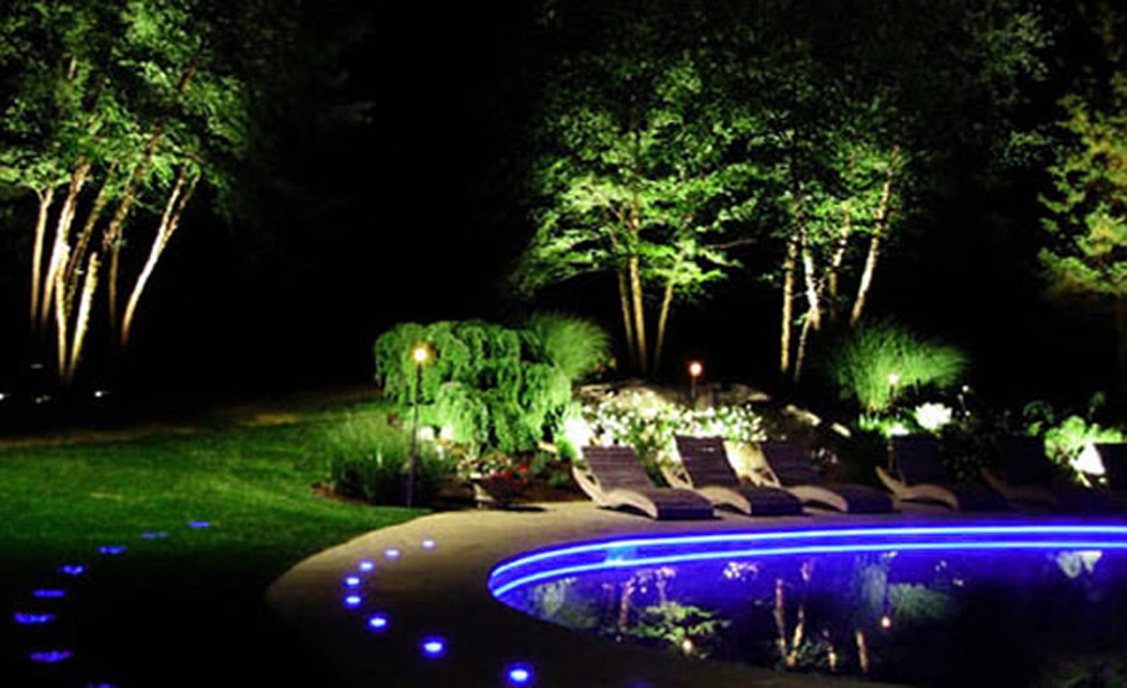 Outdoor Lighting Design Ideas before after lighting designs Blue Led Landscape Lights