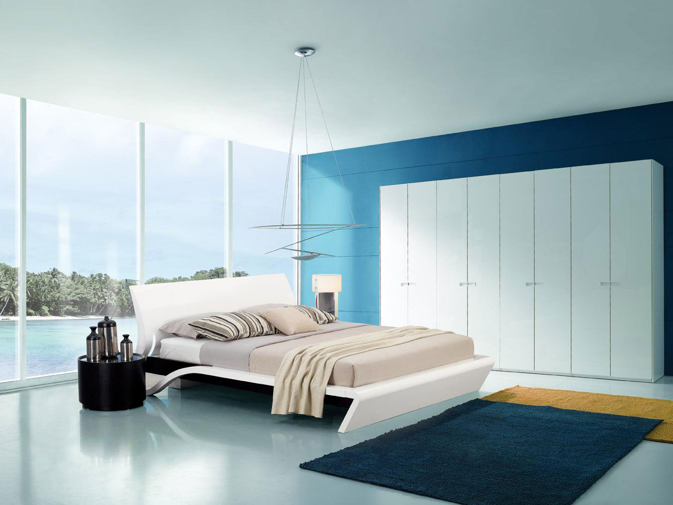 Modern Bedroom Blue Blue Modern Bedroom Design QNUD Nongzico
