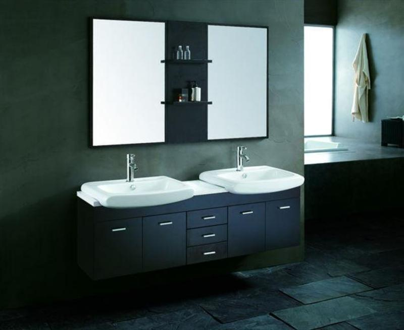 Contemporary Vanity with Double Sinks and Mirrors