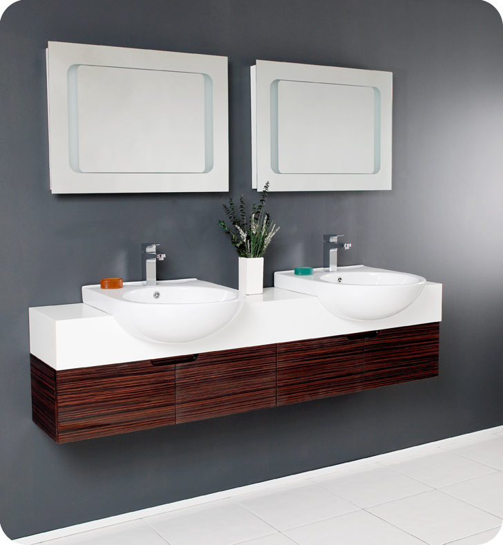Twin Bathroom Sinks : ... bathroom vanities qnud design element london 72 double sink bathroom