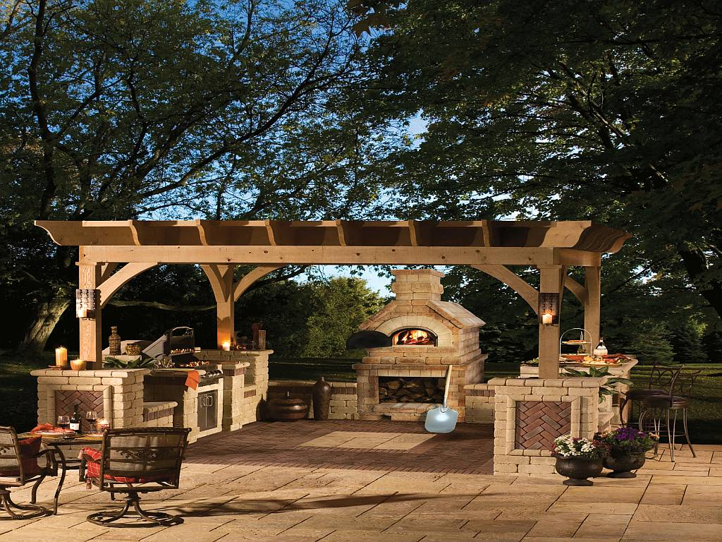 Garden gazebo ideas 6350 for Outside fireplace plans