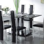 Glass Dining Table & High Back Chairs