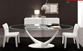 Glass Dining Table on White Stand