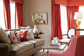 Red Living Room Curtains Designs