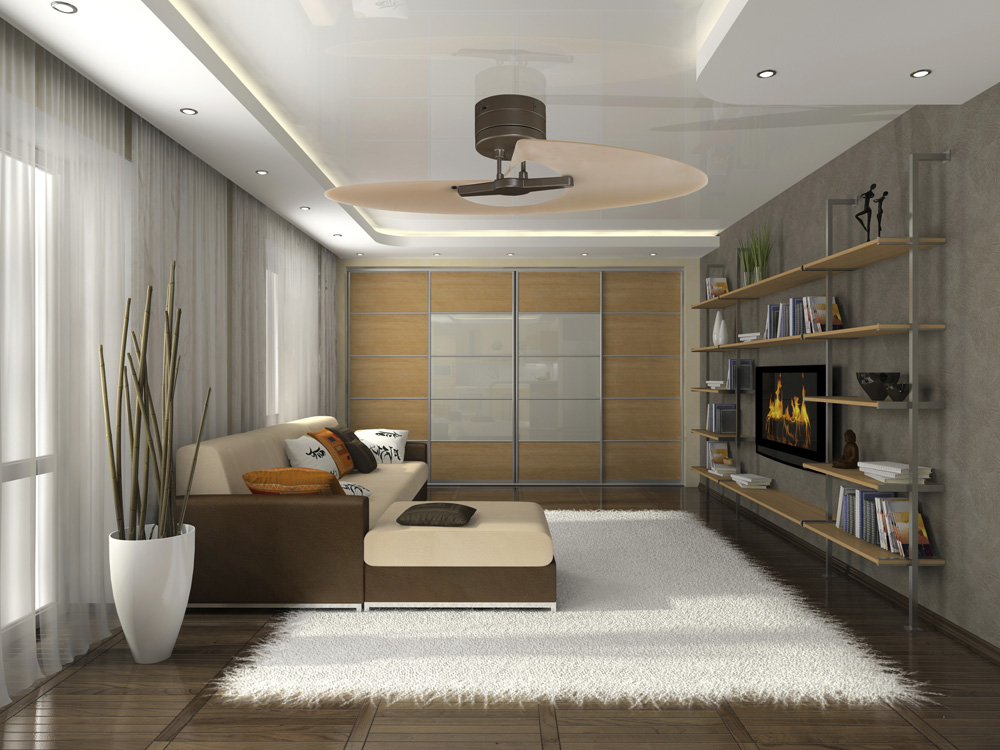 Modern creative living room design rendering living room creative - Modern Ceiling Fans Qnud