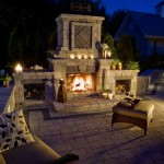 Outdoor Cobblestone Fireplace