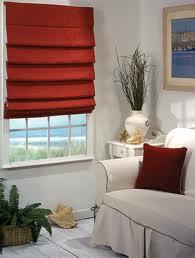 Red Fabric Roman Shades