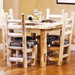 Rustic Dining Table with 4 Chairs