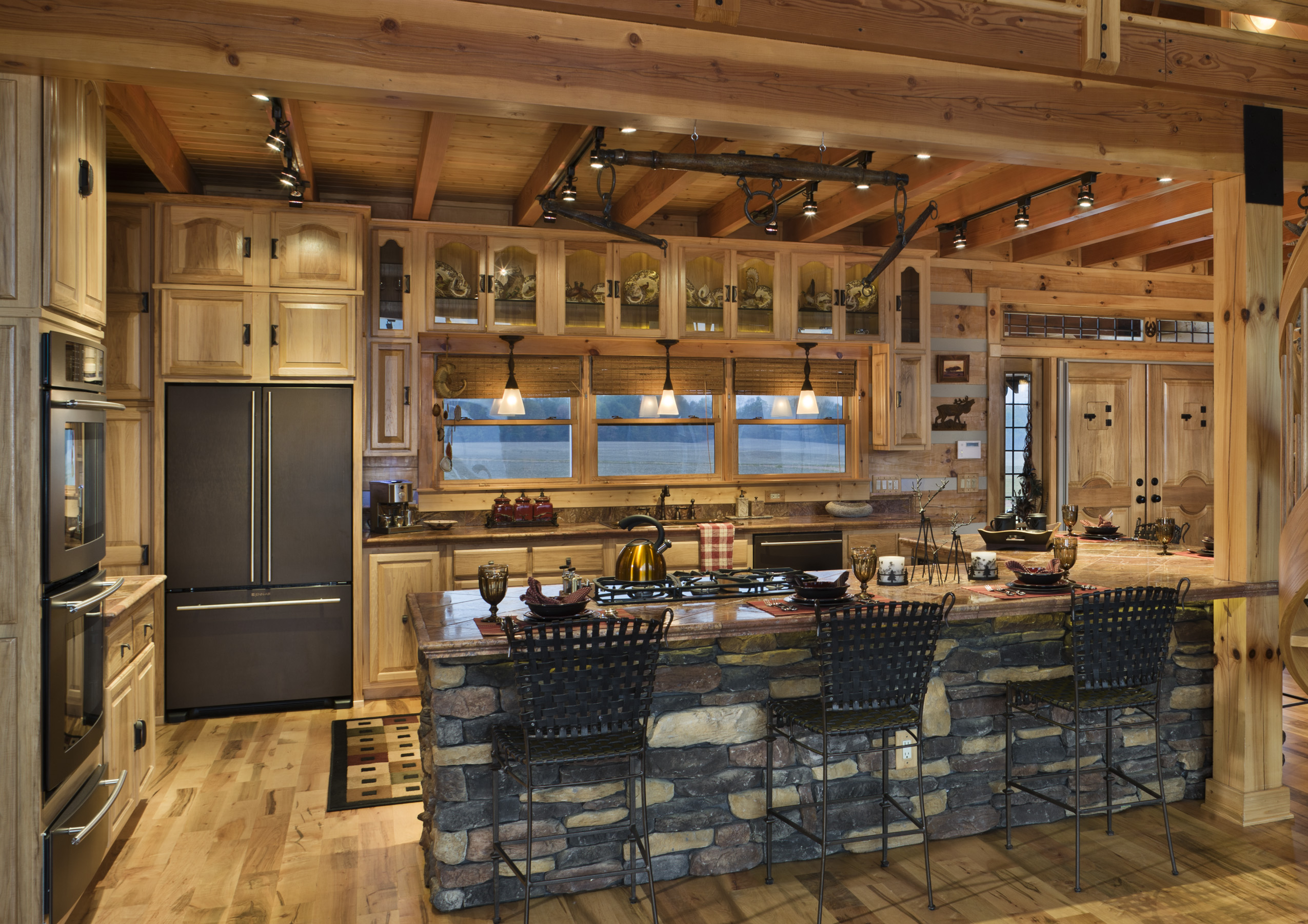The most new and unique kitchen island designs for 2014 qnud Log home kitchen design ideas