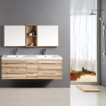 Teak Bathroom Vanity with Double Sinks