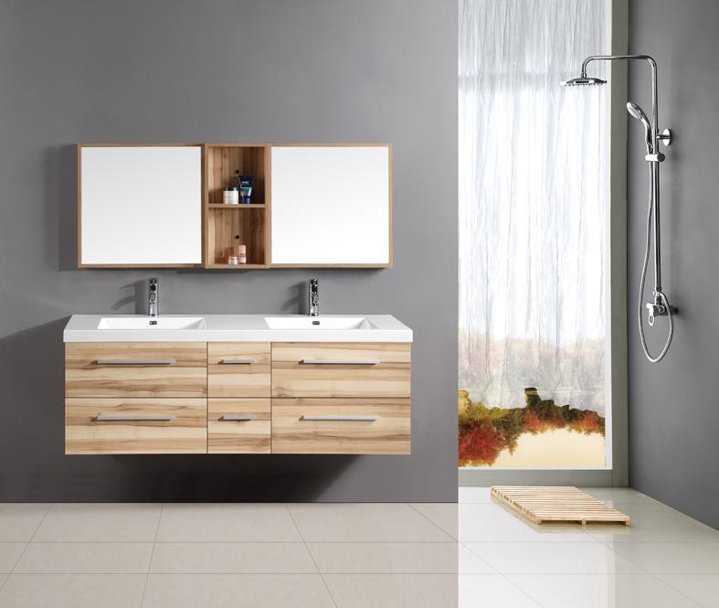 Teak Bathroom Vanity with Double Sinks