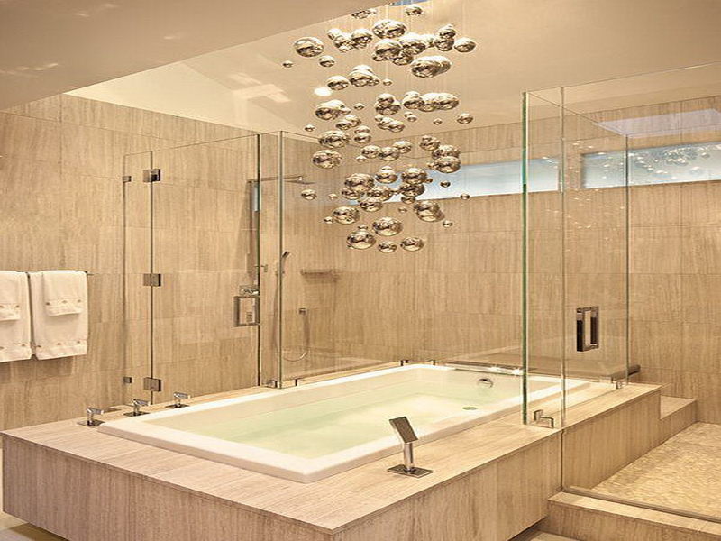 Elegant Unique Contemporary Light Fixture Over The Tub