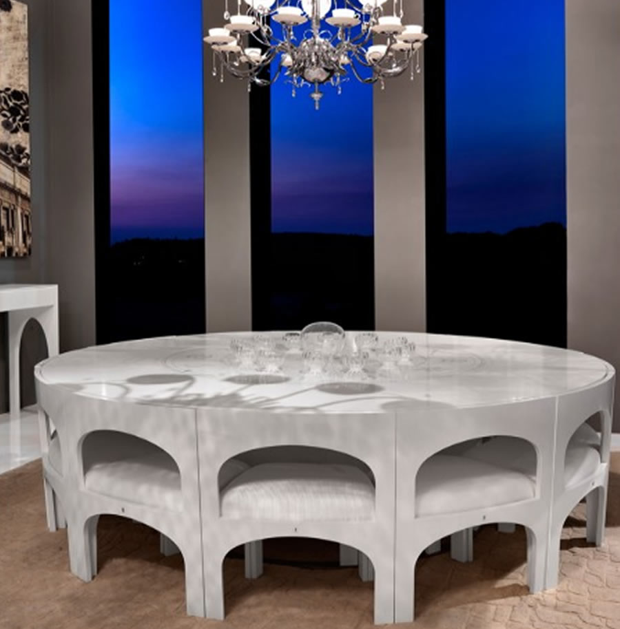 Glass dining table qnud for Unique dining table sets