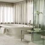 White Bathroom Window Treatment Designs