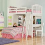 White Bunk Beds with Desk