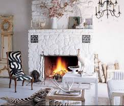White Cobblestone Fireplace