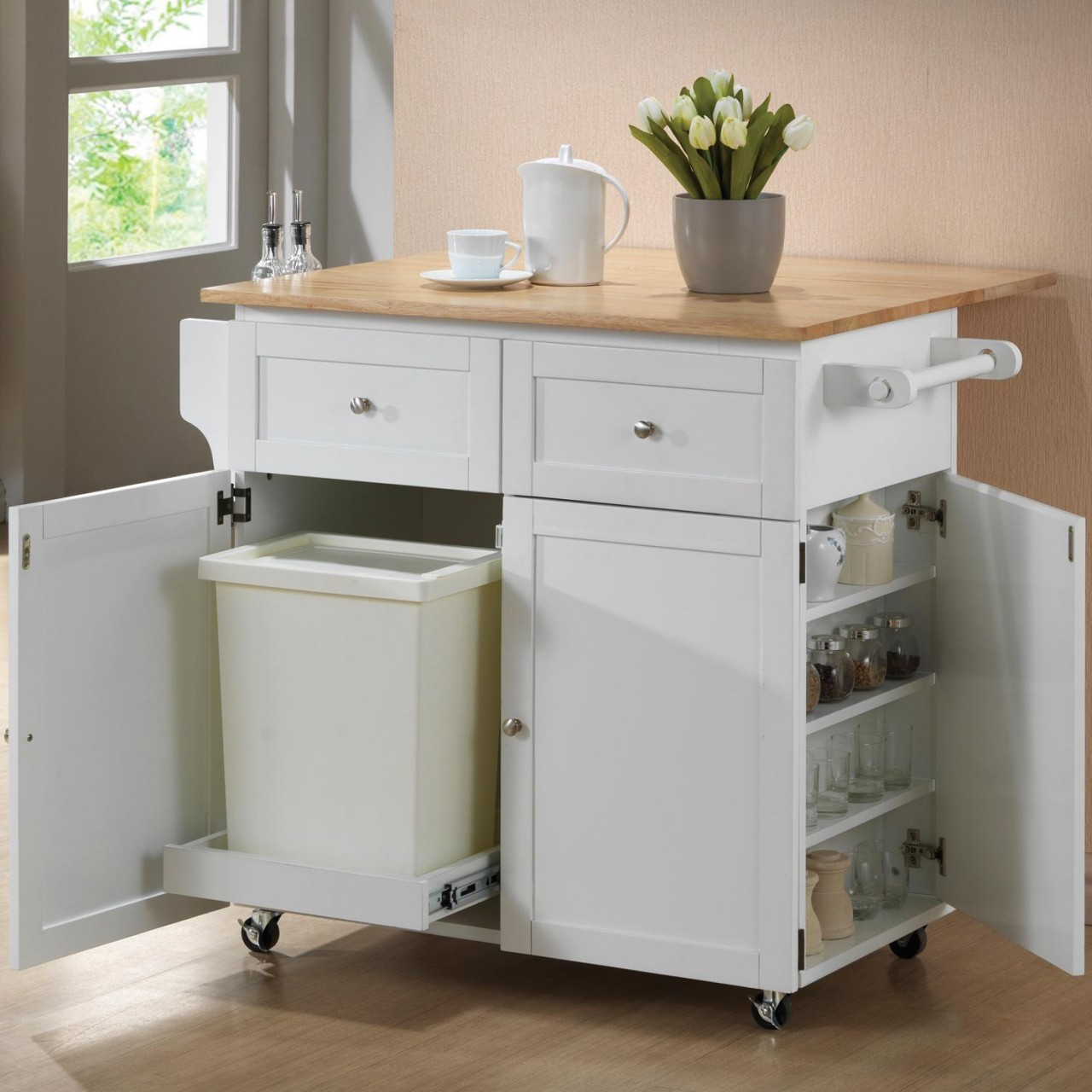 21 Impressive Cool Kitchen Island Design Ideas: White Kitchen Island Cart (6540